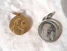 2 anciennes médailles, Marie Lourdes en argent, Marie enfant fix,  protection