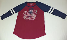NWT Lucky Brand - CF Martin L/S Wine & Blue Graphic T-Shirt     Small      L1869