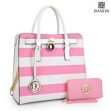 New Womens Handbag Faux Leather Satchels Tote Bag Padlock Medium Purse w/ Wallet