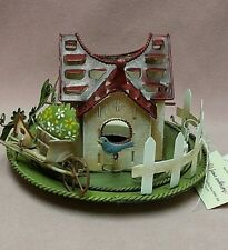 "Home Interiors Spring Time 5"" Tin Art Bird House Petite Jar Candle Holder Decor"