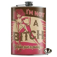 Not A Bitch Stainless Steel Hip Flask Gift Retro Novelty Bar Drink Alcohol
