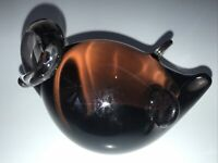 """Vintage Rare Art Glass Pig w Tail & Ears Brown Hand Blown 4"""" Signed MINT"""