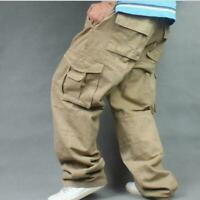 100% Cotton Mens Long Pants Loose Cargo Baggy Carpenter Overalls Trousers Yoooca