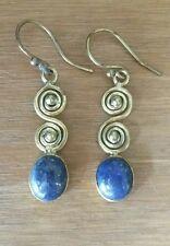 Lapis Lazuli Gemston/Goldtone Brass NEW Drop Earrings Indian Jewellery UK Seller