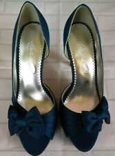 "Michaelangelo Maribelle Shoes 6 1/2 M Turquoise Fabric 4"" Slim Heel Open Toe"