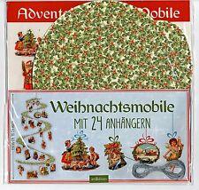 Adventskalender-Mobile mit 24 nostalgischen Anhängern DIY  Weihnachtsdeko 70 cm