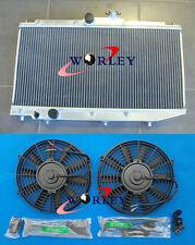 2 rows Aluminum Radiator + Fans for Toyota Corolla AE90 AE92 AE94 1989-1994 1990