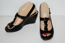 CLARKS Black Leather Wedge Shoe Sandal Women's 7 Med US or UK 5