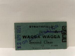 NSWGR Railway Second Class Ticket Strathfield To Wagga Wagga 1959