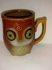 Owl shaped coffee mug pottery Brown