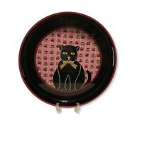 S S Lacquer Ware Black Cat Tray Vintage 1960s Pink Floral Cherries Handles Japan