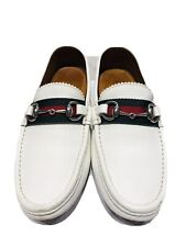 GUCCI GG Horsebit White Leather Women's Moccasins Shoes