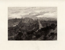 """Neat William LOCKHART 1800s Etching """"Famous View from Calton Hill"""" SIGNED COA"""