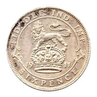 KM# 815 - Sixpence - George V - Great Britain 1911 (VF)