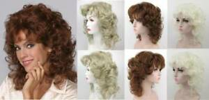 80'S WOMENS MEDIUM LENGTH WAVY LOOSE CURLS CURLY WIG W/ LAYERED FRONT SIDES LISA