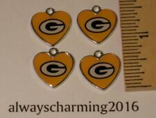 """4 GREENBAY PACKERS INSPIRED """"HEART"""" CHARMS FOR NECKLACES, BRACELETS OR EARRINGS"""