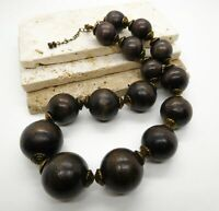 Vintage Chunk Brown Wood Antiqued Gold Tone Bead Boho Statement Necklace MM10