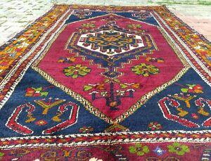 Antique 1900-1939s Wool Pile Tribal Area Rug 4' × 8'