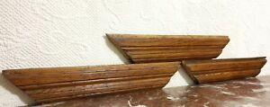 3 Victorian groove wood carving pediment Antique french architectural salvage