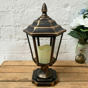 Traditional Black Eternal Battery Powered LED Flame Candle Light Lamp Lantern B
