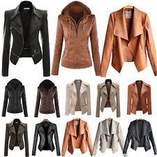 Women Biker Motorcycle Jacket Coat PU Leather Zip Long Sleeve Winter Outwear Top