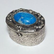 Vintage Navajo Indian 1000 Silver and Turquoise Pill box