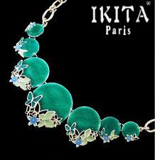 Luxus Statement Halskette IKITA Paris Kette Emaille Paillette Rund Schmetterling