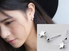 925 Sterling Silver Star & Ball Stud Post Dangle Earrings Gift Box PE19