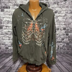 Marc Ecko Cut & Sew Graphic Hoodie Size XL Gray Sword Wings