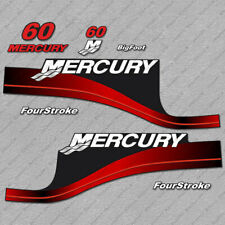 Mercury 60 hp Four Stroke outboard engine decals RED sticker set reproduction