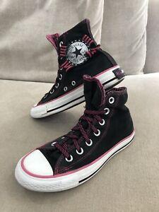 Womens CONVERSE Chuck Taylor High Tops Sneakers US 5 Black Ribbon Unique [CS3]