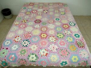 WASHED MANY TIMES Vintage Hand Pieced & Quilted Feed Sack FLOWER GARDEN Quilt