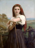 Large art Oil painting Bouguereau - Portrait Young Shepherdess girl with sheep