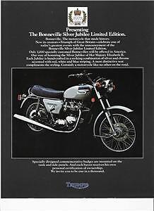 1977 Triumph T140 Silver Jubilee original brochure 2 pg