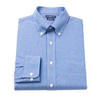 New Croft & Barrow Men's Classic-Fit Button-Down Collar Blue Striped Dress Shirt