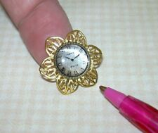 "Miniature Taller Targioni Gold Flower Clock, 13/16"" in Diameter: DOLLHOUSE 1:12"