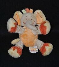 Peluche doudou éléphant DOUKIDOU rouille orange beige 20 cm TTBE
