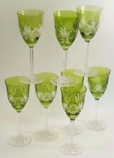 VAL St LAMBERT Crystal - COLMAR Cut - Coloured Wine Glasses - Set of 8