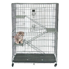 4-Tier Large Folding Cat Cage Crate Playpen w/Climbing Ladders/Platforms/Wheels