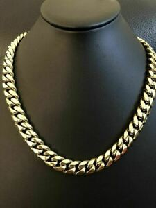 """Men's Cuban Miami Link 20"""" Choker Chain 14k Gold Over Stainless Steel 12mm 136g"""