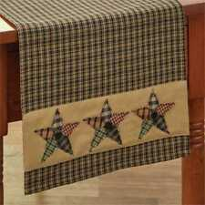 Primitive Country Pieced Star Table Runner 13X36 Black Tan Plaid Cotton