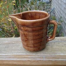 Vintage Stoneware Yellow Ware Pottery Pitcher Brown Jug