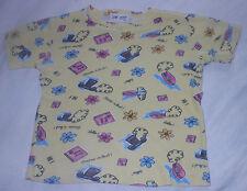 Leapin Lizards Yellow Telephone Flowers Girls Short Sleeve Shirt Top Shirt 6