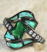 BLACK SILVER Elegant Green Fire Opal & Green Peridot Ring Size 10, WR40502