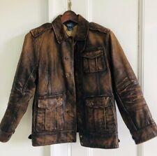 Boys Ralph Lauren Genuine Distressed Cowhide Leather Jacket Size M NWOT