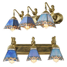 3-Lights Tiffany Mermaid Wall Sconce Blue Cone Glass Shade Wall Light Fixture