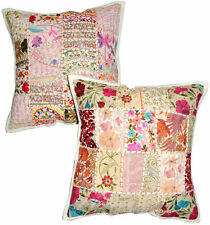 2pc White Vintage Indian throw Pillow, Bohemian Pillow cover decorative cushions