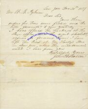 San Jose California arborist John Q A Ballou signed letter 1857 re trees