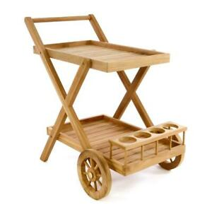 DIVERO Servierwagen Teewagen Rollwagen Küchenwagen aus behandeltem Teakholz
