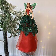 2019 Gisela Graham Green Red Woodland Fairy Angel Christmas Tree Topper Vintage